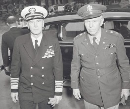 Ernest King and George Marshall Arriving for Meeting